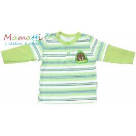 Mamatti Polo tričko dlouhý rukáv  - FROG - zelené/proužky, 68 (4-6m)