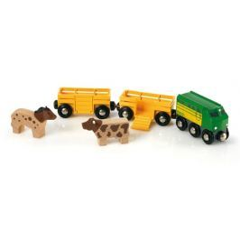 Brio Zemědělský vlak pro přepravu zvířat s 2 vagónky,krávou,koněm