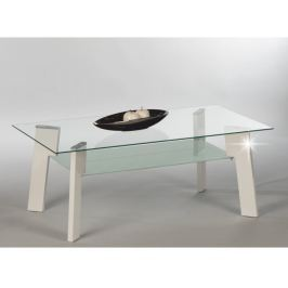 Tempo Kondela Konferenční stolek, MDF, bílá extra vysoký lesk HG + sklo, ADELO