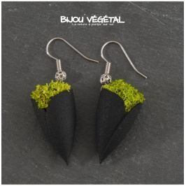 Živé šperky - Náušnice Tulipán černé s lišejníkem