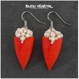 Živé šperky - Náušnice Tulipán červené s trvalými bílými kvšty