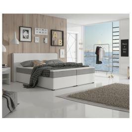 Tempo Kondela Komfortní postel, šedá látka / bílá ekokůže, 180x200, NOVARA KOMFORT
