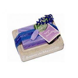 Le Chatelard Mýdlenka v imitaci kamene s luxusním francouzským mýdlem Levandule 100 g