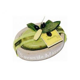 Le Chatelard Oválná mýdlenka v imitaci kamene s luxusním francouzským mýdlem Olivový list 100 g
