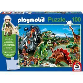 SCHMIDT Puzzle  56042 V zemi dinosaurů s Playmobil postavičkou 100 dílků