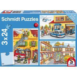 SCHMIDT Puzzle Policie, hasiči záchranáři 3x24 dílků