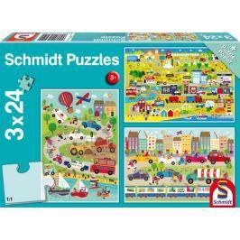 SCHMIDT Puzzle Barevný svět dopravních prostředků 3x24 dílků