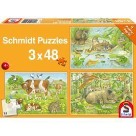 SCHMIDT Puzzle Zvířecí rodinky 3x48 dílků