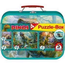 SCHMIDT Dětské puzzle Dinosauři 2x60 a 2x100 dílků v plechovém kufříku