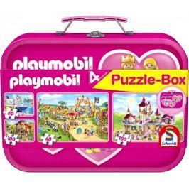 SCHMIDT Dětské puzzle Playmobil 2x60 a 2x100 dílků v růžovém plechovém kufříku