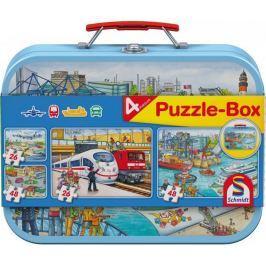 SCHMIDT Dětské puzzle Doprava 2x26 a 2x48 dílků v plechovém kufříku