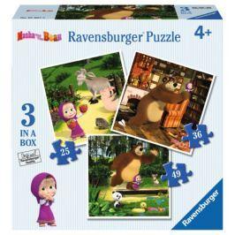 RAVENSBURGER Puzzle pro děti 3v1  - Máša a medvěd: Máša a její kamarádi (25,36,49