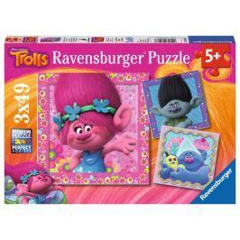 RAVENSBURGER Dětské puzzle  08013 Trollové: Zábava 3x49 dílků