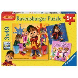 RAVENSBURGER Puzzle Alvin a Chipmunkové 3x49 dílků