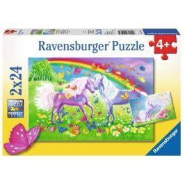 RAVENSBURGER Dětské puzzle  2x24 dílků - Duhoví koníci