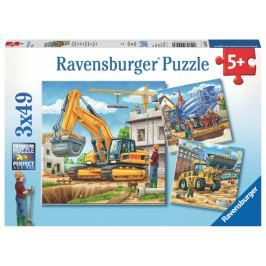 RAVENSBURGER Puzzle Stavební stroje 3x49 dílků