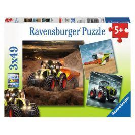RAVENSBURGER Dětské puzzle  3x49 dílků - Stroje CLAAS: Axion, Lexion, Xerion 3v1