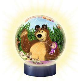 RAVENSBURGER Svítící puzzleball  Máša a medvěd 72 dílků