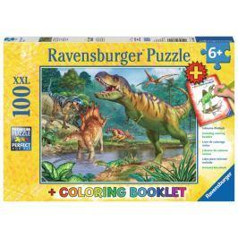 RAVENSBURGER Puzzle Pravěký svět dinosaurů XXL 100 dílků + omalovánky