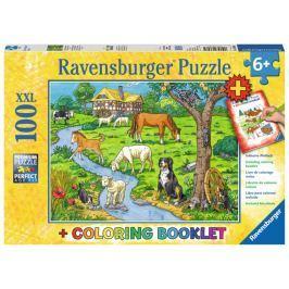 RAVENSBURGER Puzzle Zvířátka na farmě XXL 100 dílků + omalovánky