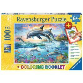 RAVENSBURGER Puzzle Delfíni XXL 100 dílků + omalovánky