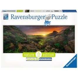 RAVENSBURGER Panoramatické puzzle Západ slunce nad Islandem 1000 dílků