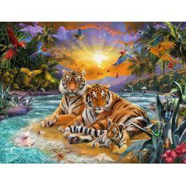 RAVENSBURGER Puzzle Tygří rodina při západu slunce 2000 dílků