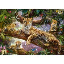 RAVENSBURGER Puzzle  1000 dílků - Leopardí rodina