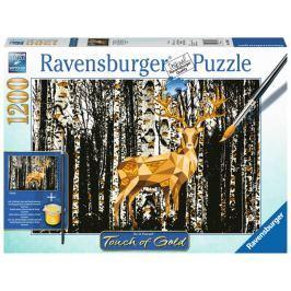 RAVENSBURGER Puzzle Touch of Gold Jelen v březovém lese 1200 dílků