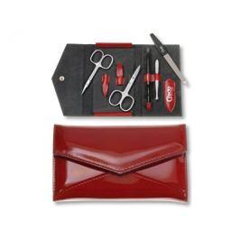 Credo Solingen Luxusní 5 dílná manikúra v červeném koženkovém pouzdře Fire 5