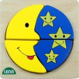LENA - Dřevěné puzzle - Mměsíc a hvězdy