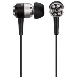 """Hama sluchátka HK-283 """"Crystal Alu"""", silikonové špunty, černá/stříbrná"""
