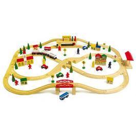 Dřevěné hračky - Dřevěná vláčkodráha vysutá dráha 101 ks