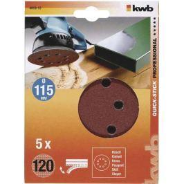 Brusný disk k excentrickým bruskám děrovaný 115 K120 SB kwb