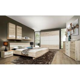 Tempo Kondela Ložnice, skříň + postel +2 ks noční stolky, dub písková/bílá, VALERIA
