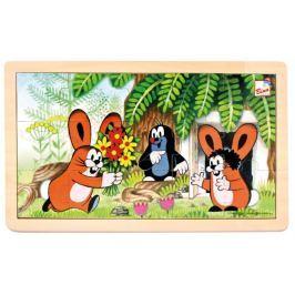 BINO Dřevěné puzzle  13800 Krtek a zajíčci 15 dílků