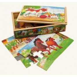 BINO Puzzle  88015 Domácí zvířata, 4x12 dílků - Dřevěné puzzle pro děti