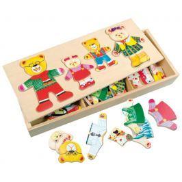 BINO Šatní skříň  88016 Medvědí rodina - Dřevěná oblékací skládačka