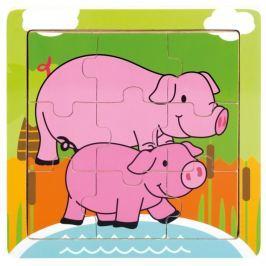 BINO Dřevěné puzzle  88017 Prasátko se selátkem, 9 dílků