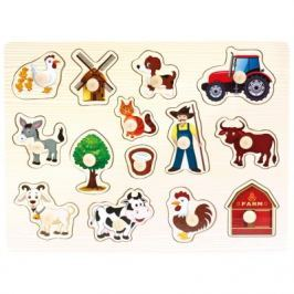 BINO - Dřevěné puzzle farma, 14 dílků