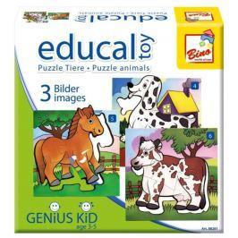 BINO Progresivní puzzle pro děti  Zvířátka, 4 + 5 + 6 dílků