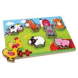 Dřevěné hračky -  Vkládací puzzle - Zvířecí farma