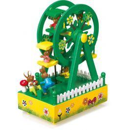 Dřevěná hrací skříňka kolotoč