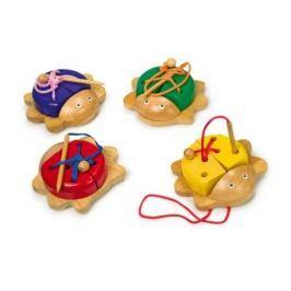 Dřevěná hračka - provlékání  - Navlékací broučci - 1 ks