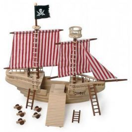 Dřevěné hračky - Dřevěná pirátská loď