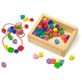 Dřevěné navlékací korálky tvary v krabičce