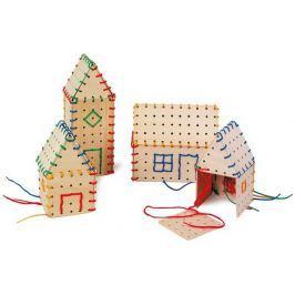 Dřevěná motorická hračka - Hra na provlékání Stavební prvky