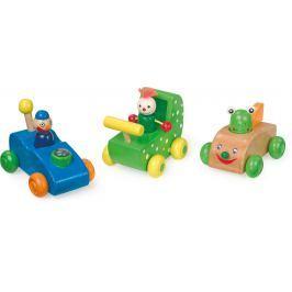Dřevěné hračky - 3 dřevěná autíčka závodníci