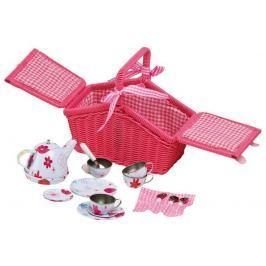 Piknikový růžový koš s nádobíčkem