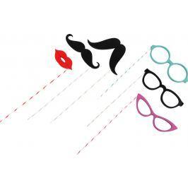 Dřevěné rekvizity k focení - brýle, vousy a pusa